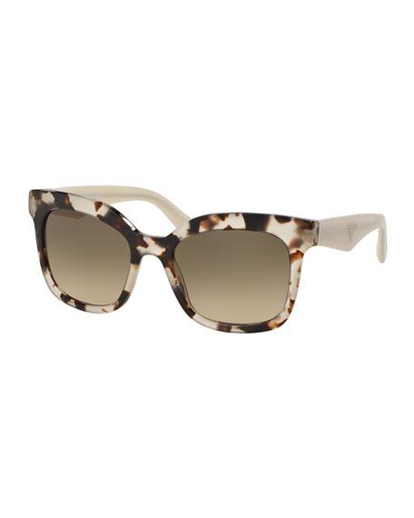 Prada Heritage Square Sunglasses, Brown/White