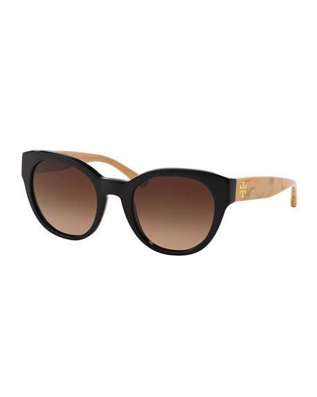 Tory Burch Universal-Fit Cat-Eye Sunglasses, Black/White