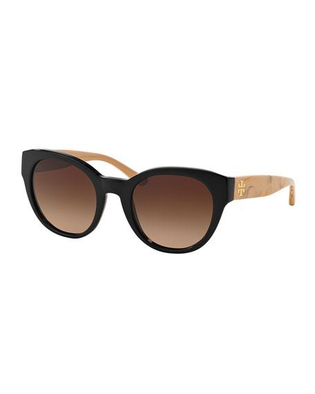 Tory Burch Universal-Fit Cat-Eye Sunglasses, Black/White