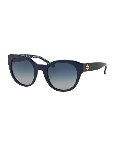 Universal-Fit Cat-Eye Sunglasses, Navy