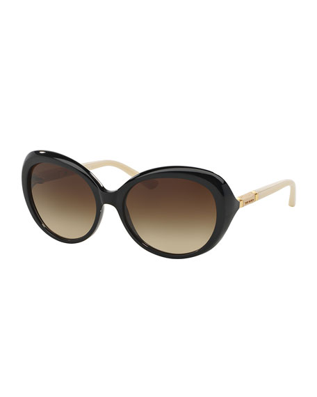 Wood-Temple Butterfly Sunglasses, Black/White
