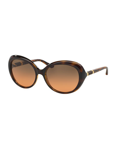 Wood-Temple Butterfly Sunglasses, Tortoise