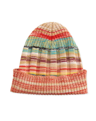 Striped Space-Dye Knit Hat