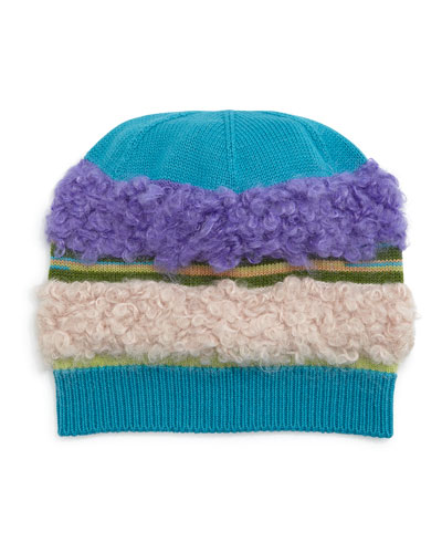Fuzzy Striped Knit Hat