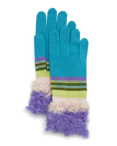 Fuzzy Striped Knit Gloves