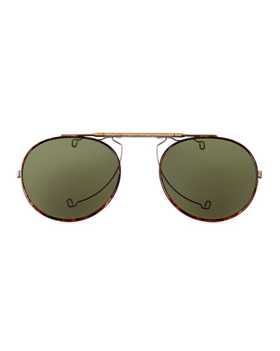 O'Malley Polarized Clip-On Sun Shades, Gold/Tortoise
