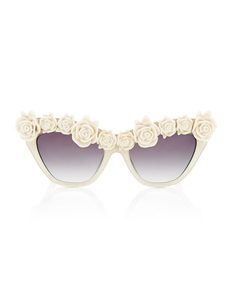 Cause I Flippin Can Rosette Sunglasses, Ivory