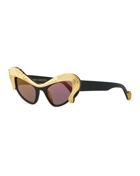 Anna-Karin Karlsson 24k Gold Horse Cat-Eye Sunglasses, Black