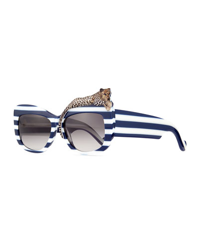 Rose et la Mer Stripe Sunglasses, Blue/White
