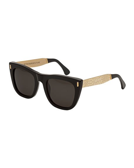 Gals Francis Goffrato Square Sunglasses, Black/Gold
