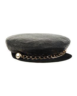 Marina Leather Captain's Hat