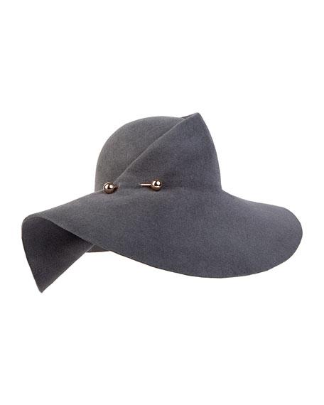 Catherine Wide-Brim Hat, Slate Gray