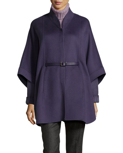 Audrey Belted Felt Cape, Amethyst