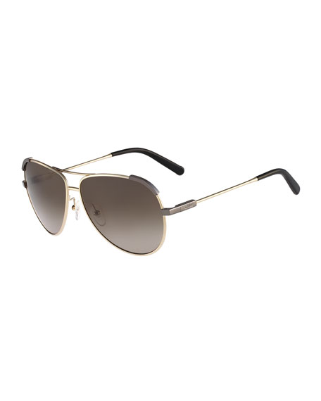 Nerine Aviator Sunglasses, Golden