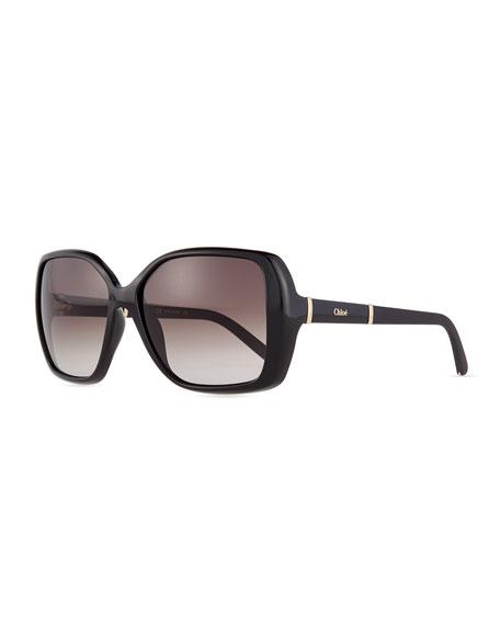 Chloe Daisy Square Sunglasses, Black