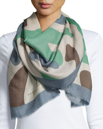 Large Camo Graphic Cashmere Scarf, Blue/Green
