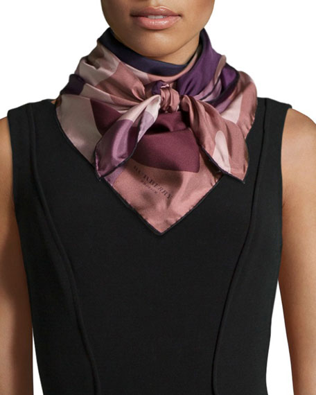 Burberry Prorsum Camo Floral Silk Square Scarf, Purple/Pink