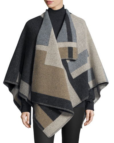 Colorblock Mega Check Cape, Camel