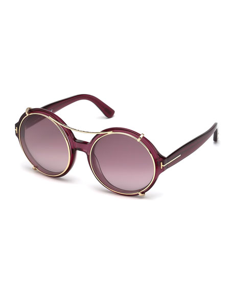 TOM FORD Juliet Round Sunglasses w/Clip-On Shades, Pink