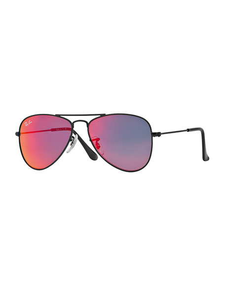 Ray-Ban Junior Children's Mirrored Aviator Sunglasses, Black/Red