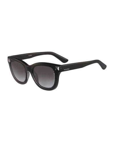 Square Rockstud-Temple Sunglasses, Black