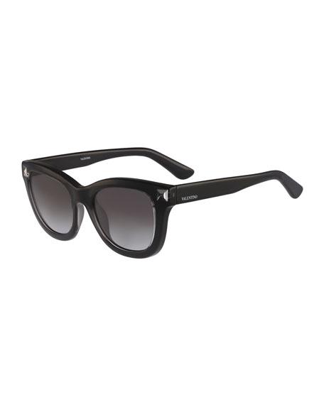 Valentino Square Rockstud-Temple Sunglasses, Black
