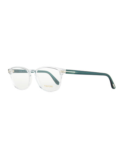 Square Acetate Fashion Glasses, Crystal