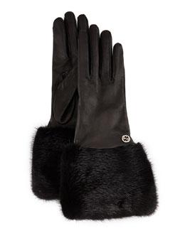 Fur-Trim Leather Gloves, Black