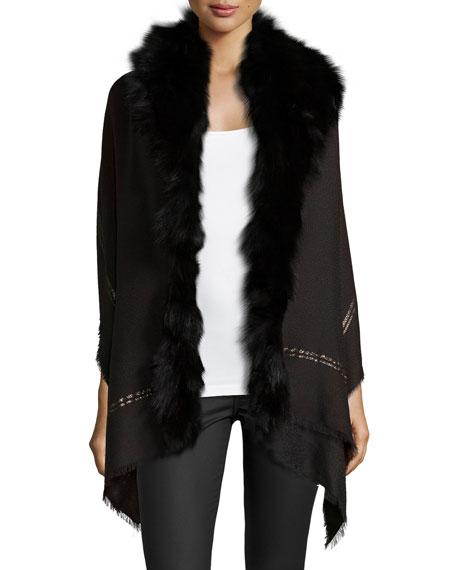 Roberto CavalliFox Fur Metallic-Stripe Shawl, Black