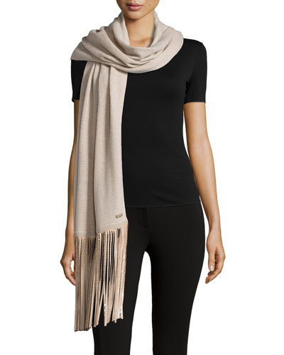 Animal-Print-Fringe Stole, Natural
