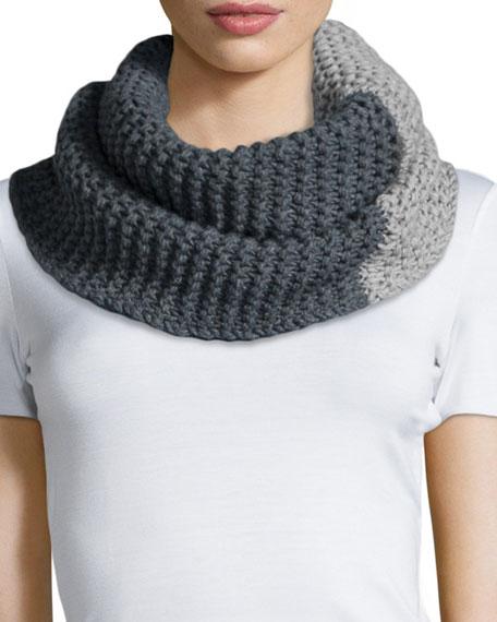 Armani Collezioni Bicolor Knit Snood, Pearl/Gray
