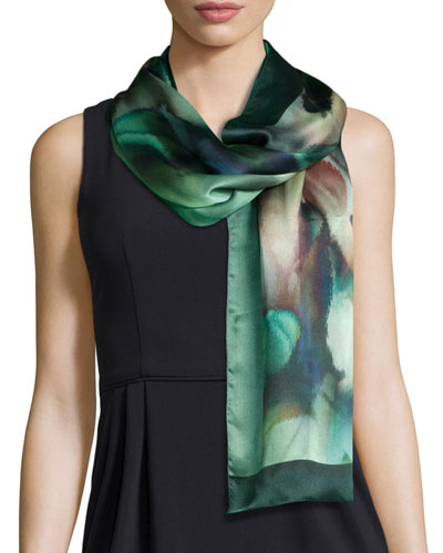 Botanical-Print Silk Shawl, Green