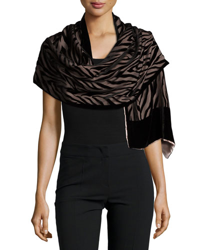 Patterned Velvet Burnout Evening Shawl, Black/Pink