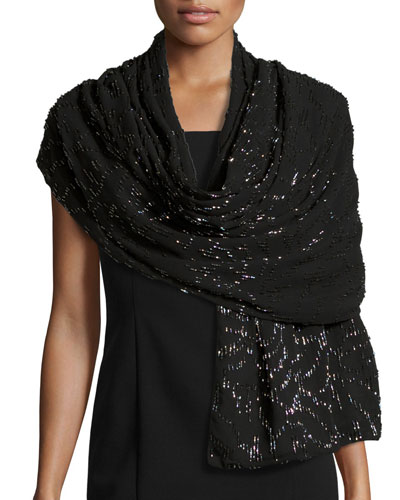 Beaded Evening Stole, Black