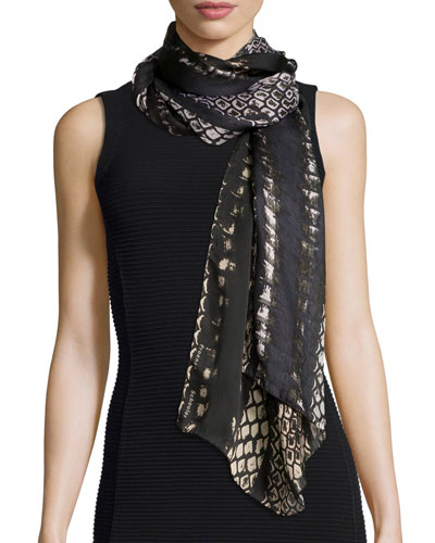 Scale-Print Silk Scarf, Black/Brown
