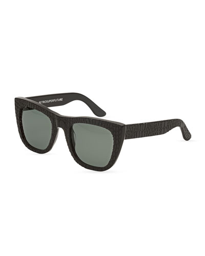 Gals Croc-Embossed Sunglasses, Smeralda (Dark Gray)