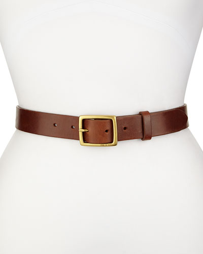 Boyfriend Leather Belt, Brown
