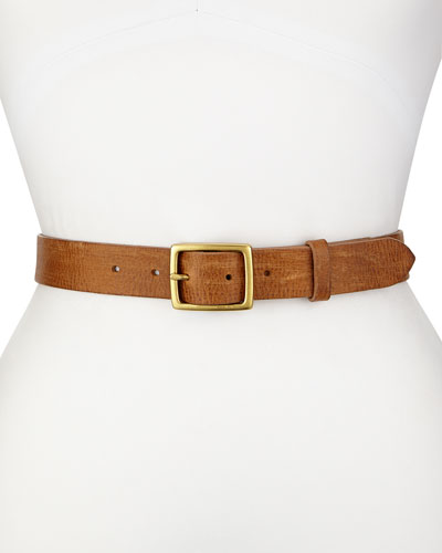 Textured Leather Boyfriend Belt, Tan