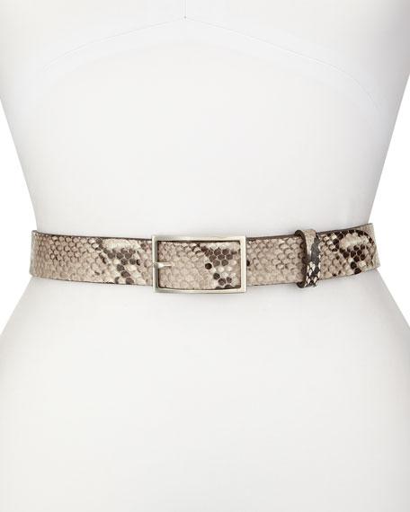 Tate Snake-Print Belt, Fawn Python