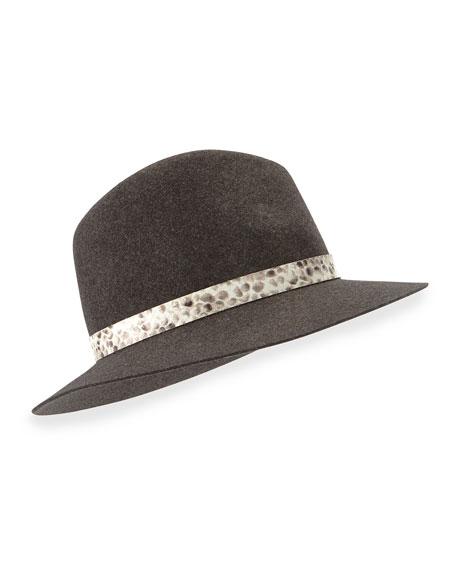 Rag & Bone Floppy-Brim Wool Fedora, Charcoal