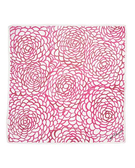 Camellia Classic Chiffon Square Scarf, Pink/White