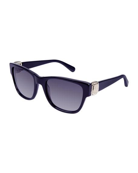 Albion Square Universal-Fit Sunglasses w/ Diamond Pavé, Navy