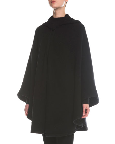 Giorgio Armani Hooded One-Button Cape, Black