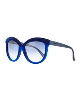 I-Plastik Velvet-Texture Enhanced-Brow Sunglasses, Dual Blue