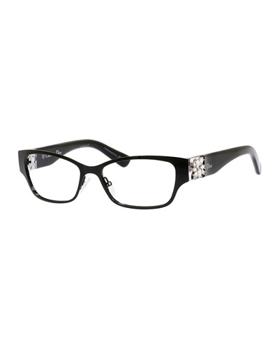 Rhinestone-Temple Fashion Glasses, Black