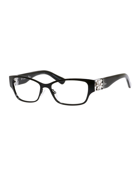 Dior Rhinestone-Temple Fashion Glasses, Black