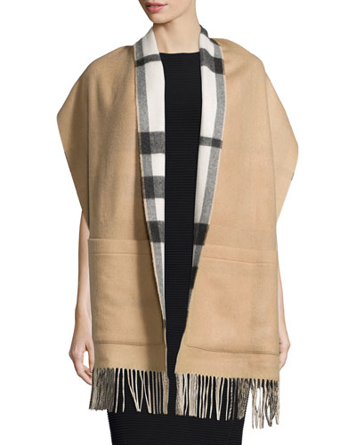 Helene Reversible Pocket Stole, Ivory Check