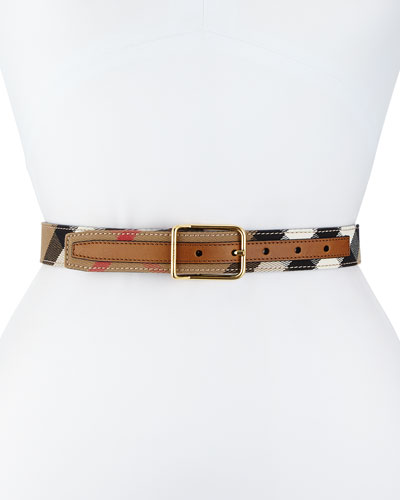 Upshall Check Canvas Belt, Tan