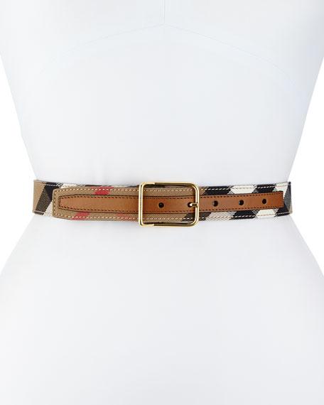 Upshall Check Canvas Belt, Tan