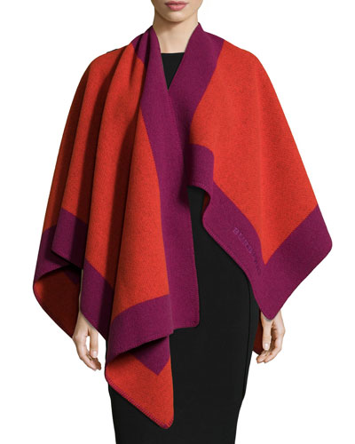 Color-Border Wool/Cashmere Cape, Coral/Red